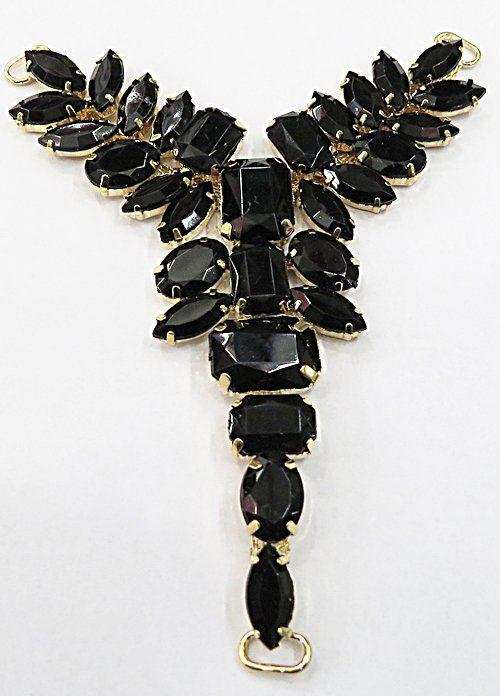 Cabidal Dourado P/ Costura Chatons Preto Importado (01Par) - CBD023