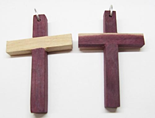 Cruz Madeira M Com Argola 02 Peças - CR001
