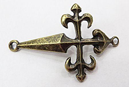 Entremeio Cruz Malta Niquel Envelhecida E Ouro Velho - EN021