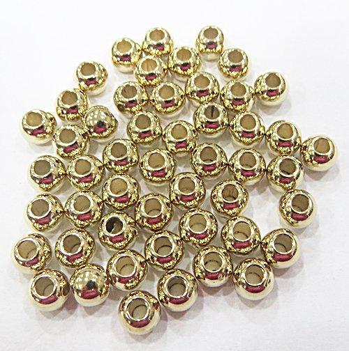 Entremeio Redondo Liso Dourado De ABS 6mm. (Atacado e Varejo) - EABS018