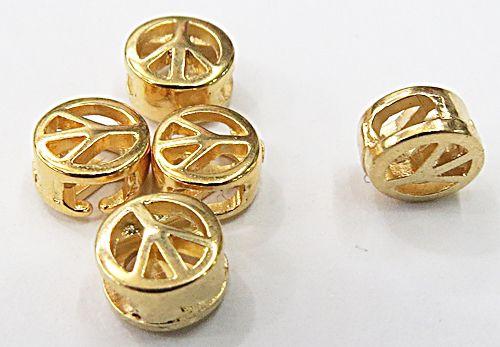Entremeio Redondo Passante Simbolo Paz ( ouro velho,Niquel e Dourado) - EN110