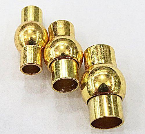 Fecho de ima Tubo Bolinha Dourado Importado N°04,05e06mm (01 unid.)- FID014