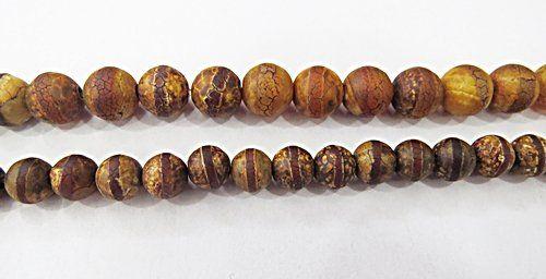 Fio De Pedra Natual Ágata Tibetana c/ Circulos - Pdn247