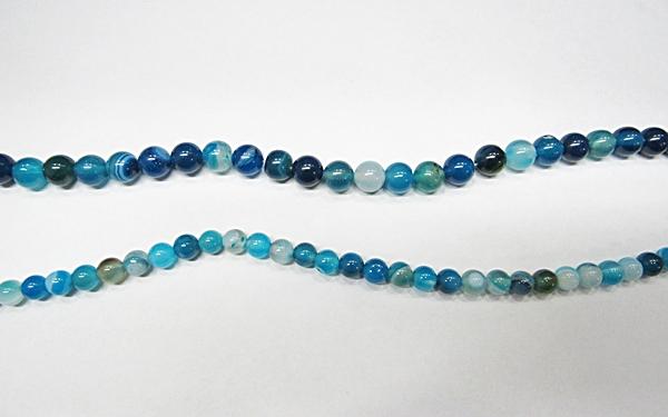 Fio De Pedra Natural Agata Azul Turquesa 06,08 e 10mm - PDN303