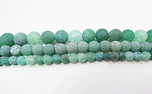 Fio De Pedra Natural Agata Verde Craquelada Fosca (N°06,08 e10mm) - PDN252