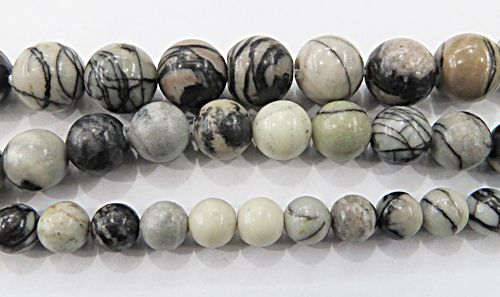 Fio De Pedra Natural Jasper Black (N°06,08 e10mm) - PDN257