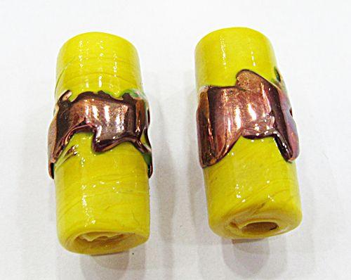 Firma De Murano GG Amarela Leitosa com Cobre - FM106