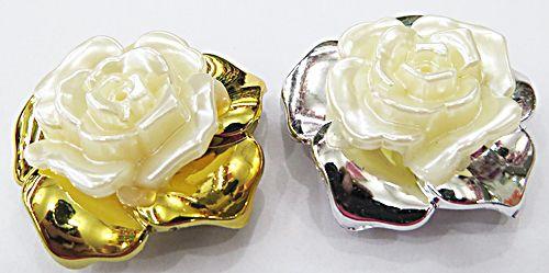 Flor Rosa Passante De abs com Perola - Fla007