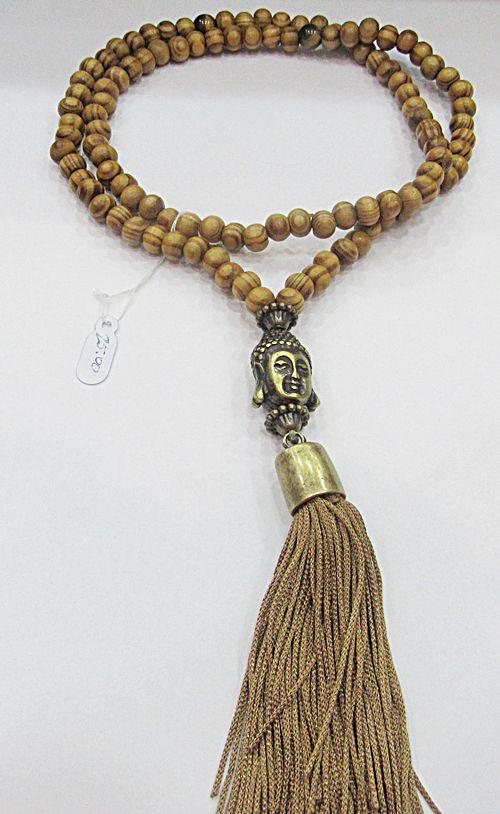 Japamala Buda Ouro Velho C/ Conta De Madeira e Olho de Tigre - JAP008