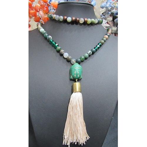Japamala Ouro Velho Buda Howlita, Agata Africana, Cristal e Madeira - JAP024