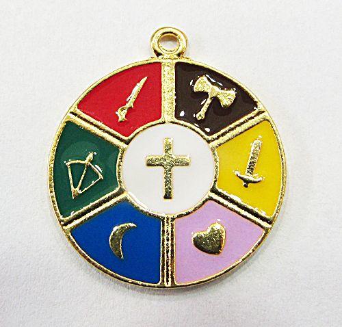 Medalha De Orixa Dourada Resinada 7 Linhas - MDO084