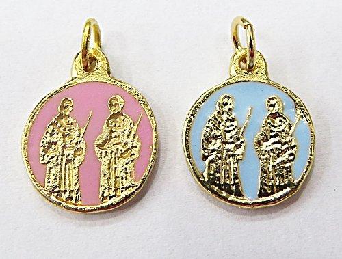Medalha Resinada Dourada Cosme E Damião - MDO013