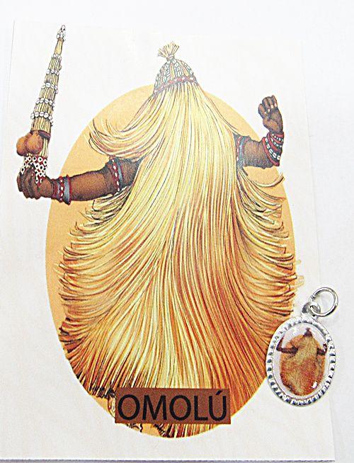 Medalhinha Orixa (Omolú) c/ Informativo (Prateada e Dourada)- MDO077