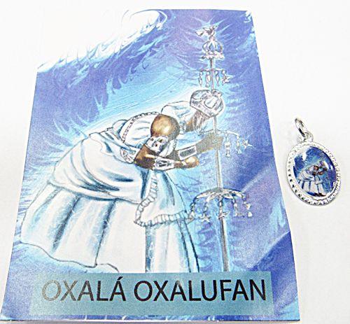 Medalhinha Orixa Oxalá (Oxalufan) c/ Informativo (Prateada e Dourada) - MDO067