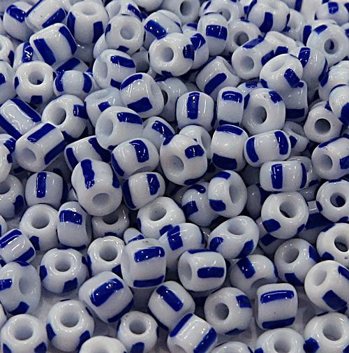 Miçanga chinesa Rajada Branca C/ Azul ( Atacado e Varejo) - MIÇ028