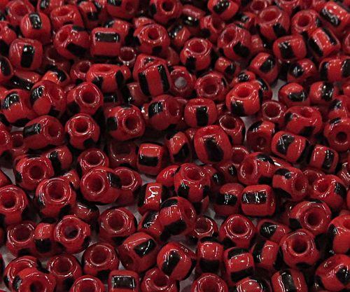 Miçanga chinesa Rajada Vermelha C/ Preta ( Atacado e Varejo) - MIÇ032