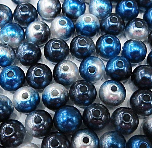 Perola ABS Mesclada N°06 e 08 25 Gramas (Azul Marinho, Azul Royal e Branco) - PER021