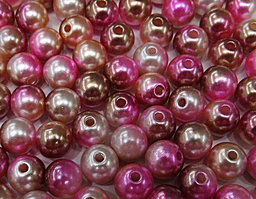 Perola ABS Mesclada N°06 e 08 25 Gramas (Pink,Rose e Marrom) - PER019