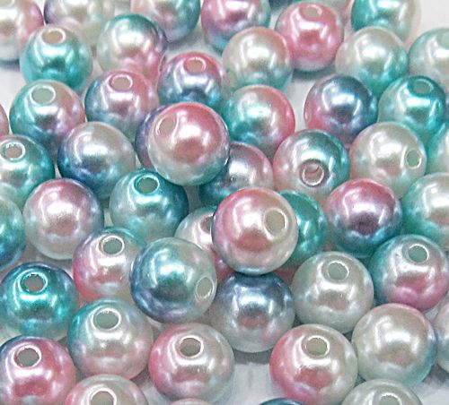 Perola ABS Mesclada N°06 e 08 25 Gramas (Turquesa, Rosa e Branco) - PER022