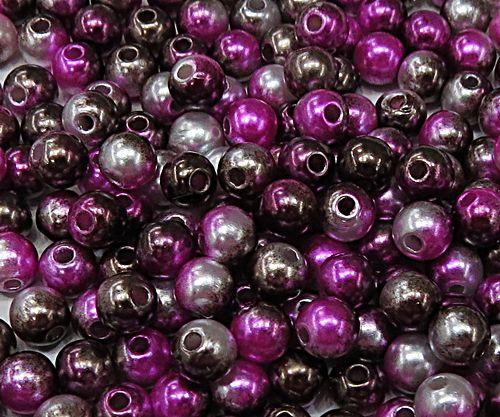 Perola ABS Mesclada N°06 e 08 25Gramas (Marrom Escuro, Pink e Branco) - PER024