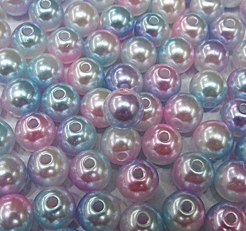 Perola ABS Mesclada N°06 e 08 25Gramas (Rosa, Lilas, Turquesa e Branco) - PER023