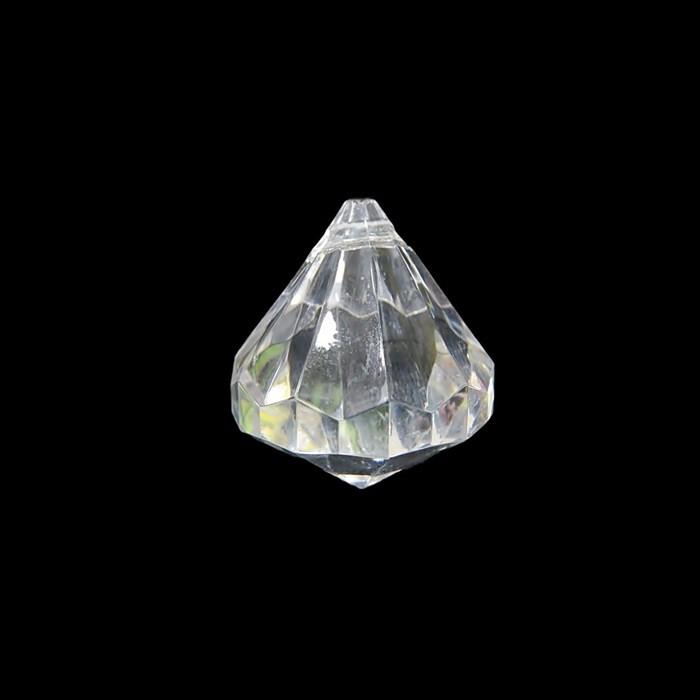 Pingente de acrilico diamante facetado GG transparente (01 Peça) - PAC020