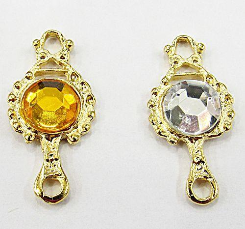 Pingente Dourado Ferramenta Orixa Mini Espelho (Amarelo E Cristal) - PFO022