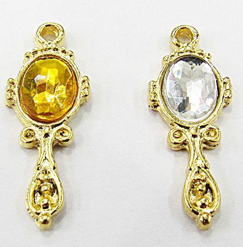 Pingente Dourado Ferramenta Orixa Mini Espelho Oval (Amarelo E Cristal) - PFO021