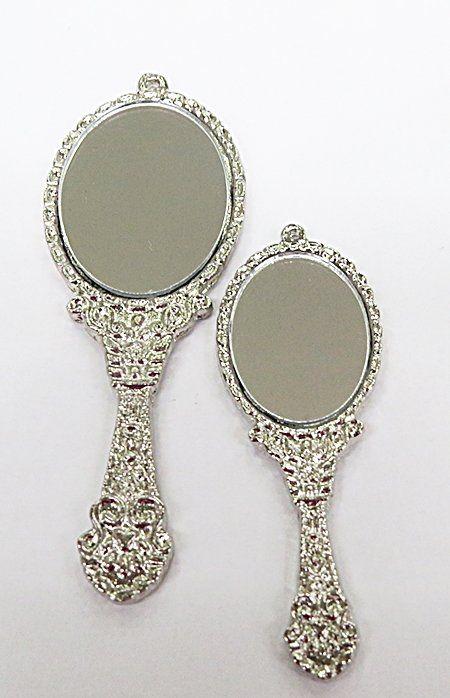Pingente Ferramenta Orixa Espelho Niquel e Ouro Velho G e GG - PFN038