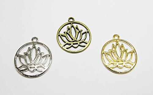 Pingente Flor De Lotus Redonda Vazada - PGT086