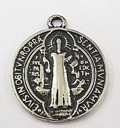 Pingente níquel envelhecido medalha Media São Bento- PTN118