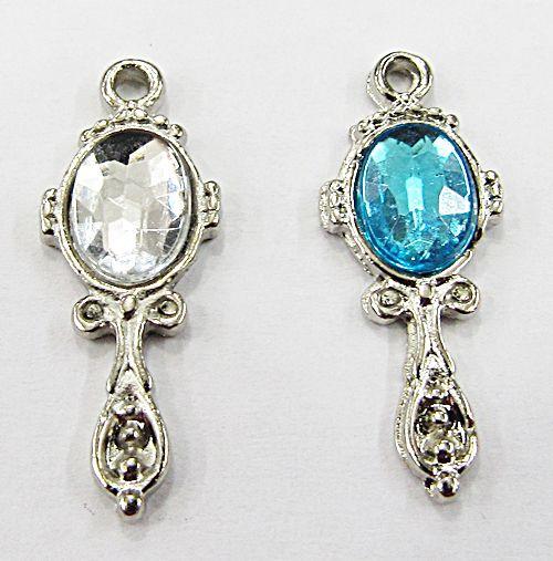 Pingente Niquel Ferramenta Orixa Mini Espelho Oval ( Azul E Cristal) - PFO020