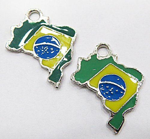 Pingente Niquel Mapa c/ Bandeira do Brasil Resinado - PTN311