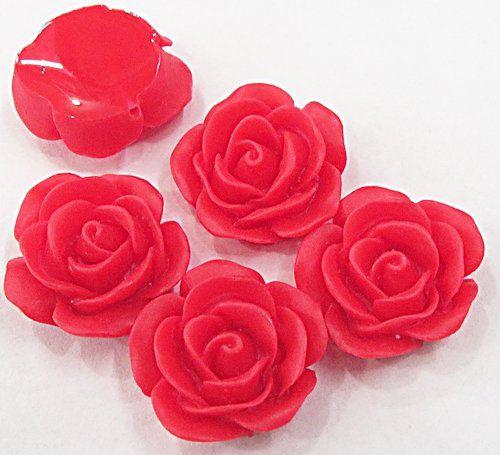 Rosa De Resina Vermelha Passante Media (10 Peças) - ROR001