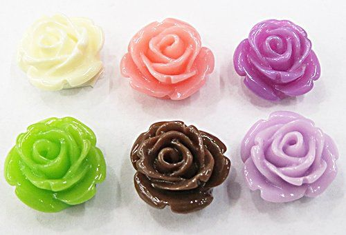 Rosas De Resina Passante Pequena Cores Diversas (10 Peças) - ROR003