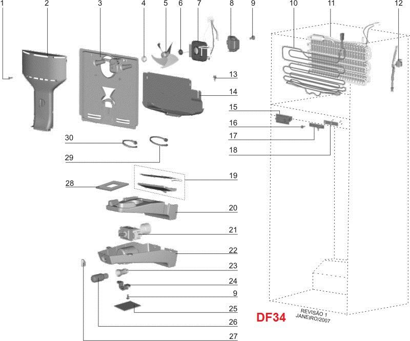 Ventilador 127V Refrigerador  Df38X Df39 Df40A Dfw35 Dw39X