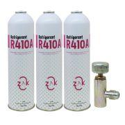 03 gás refrigerante r410a ar condicionado 600gr + válvula