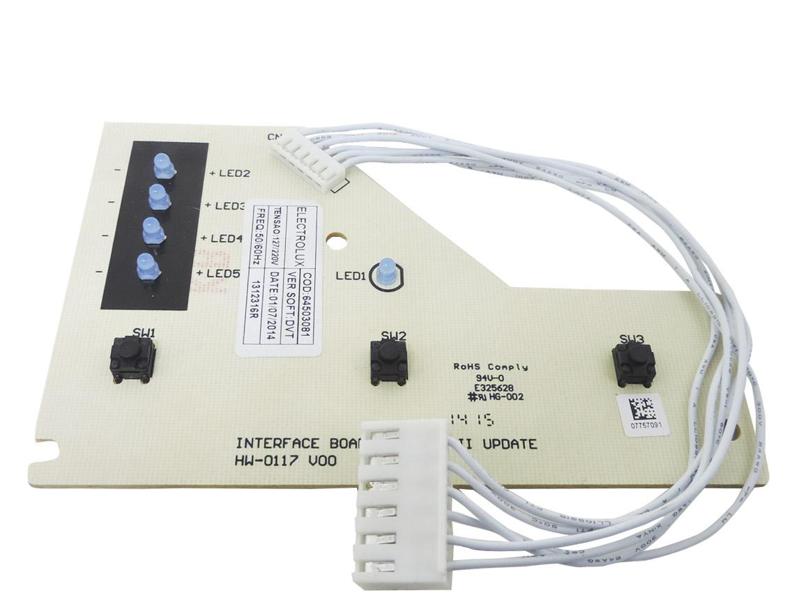Placa Interface Led Azul Lavadora Electrolux 64503081