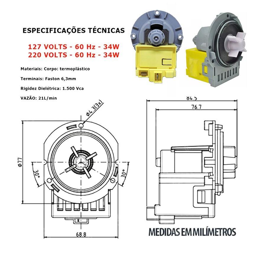 Eletrobomba Lavadora Direto No Tanque 127V Emicol 322077