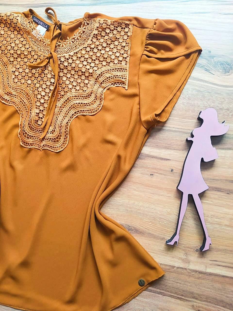 Blusa Bianca de Renda Saia Bella - SB9981 Caramelo Plus Size