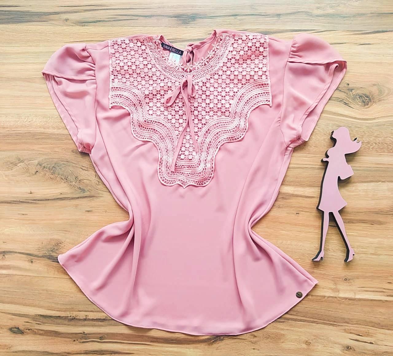 Blusa Bianca de Renda Saia Bella - SB9981 Plus Size