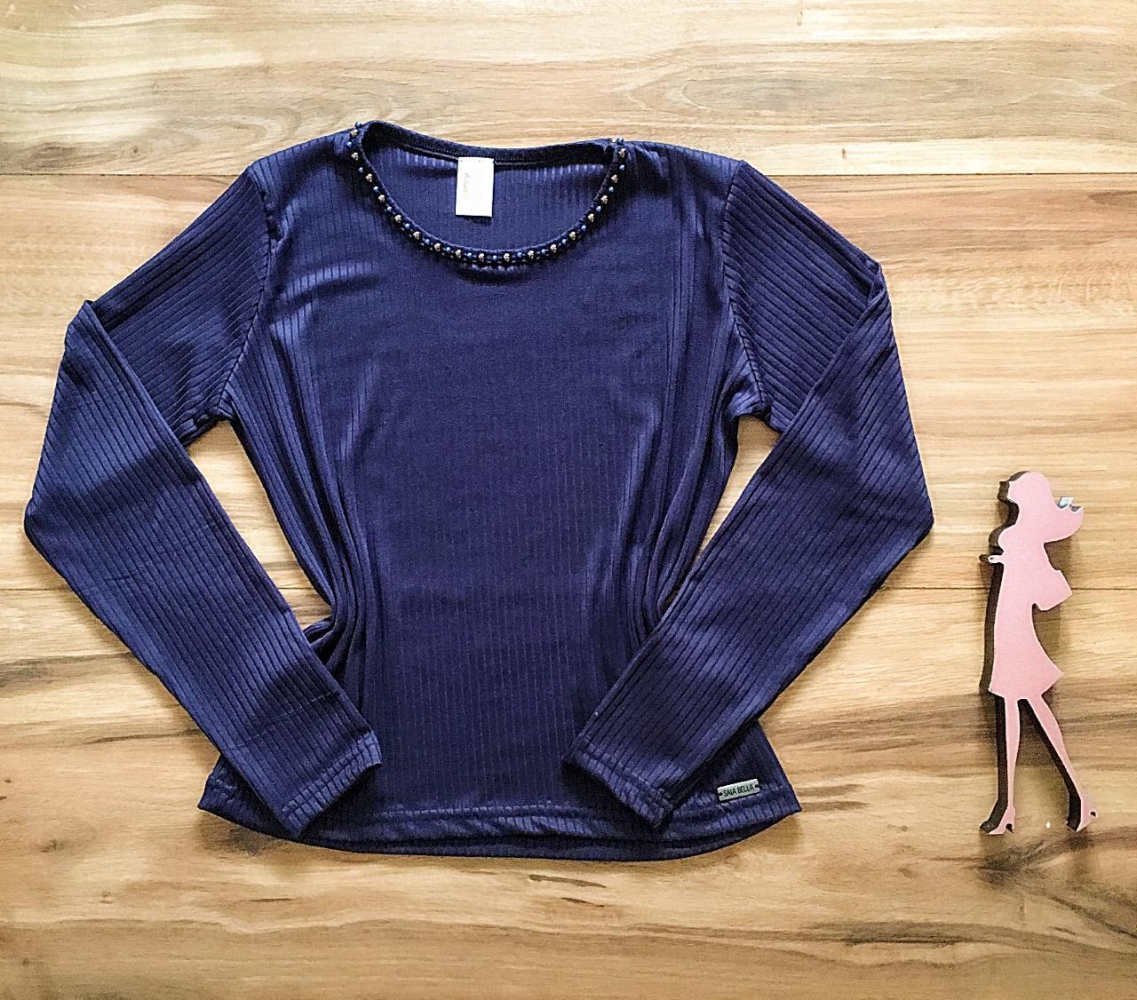 Blusa Canelada Saia Bella - SB3859 azul marinho