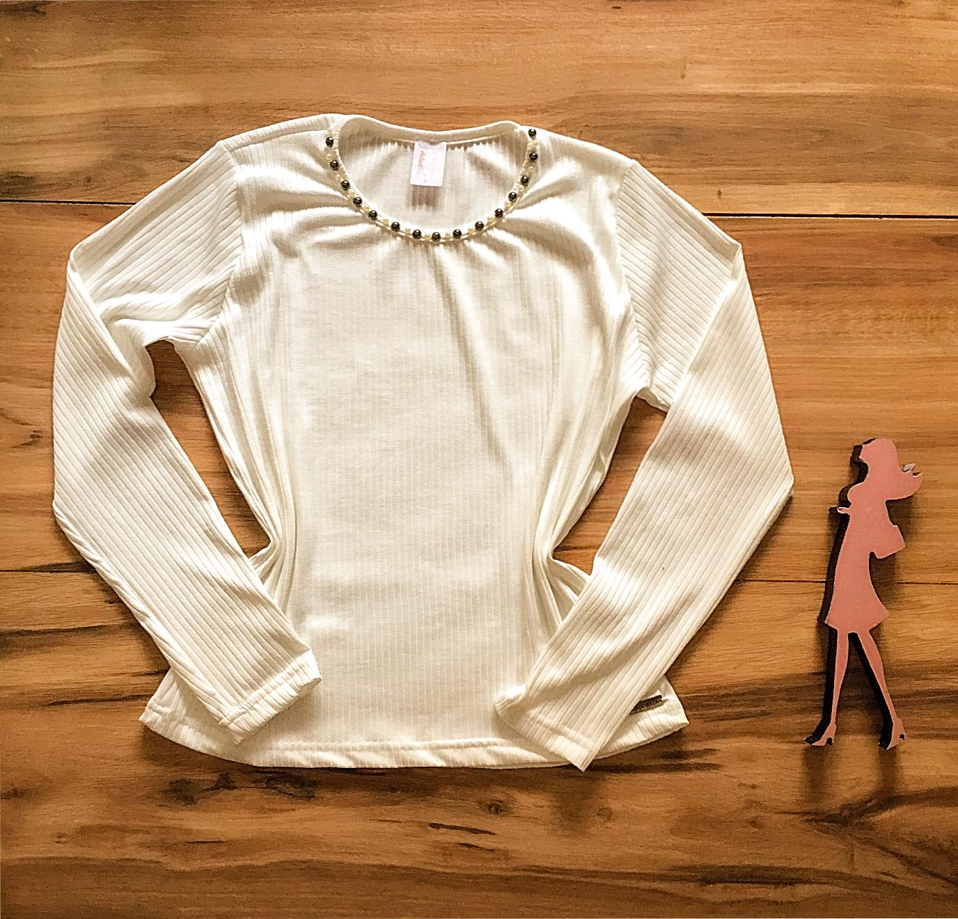 Blusa Canelada Saia Bella - SB3859 branco