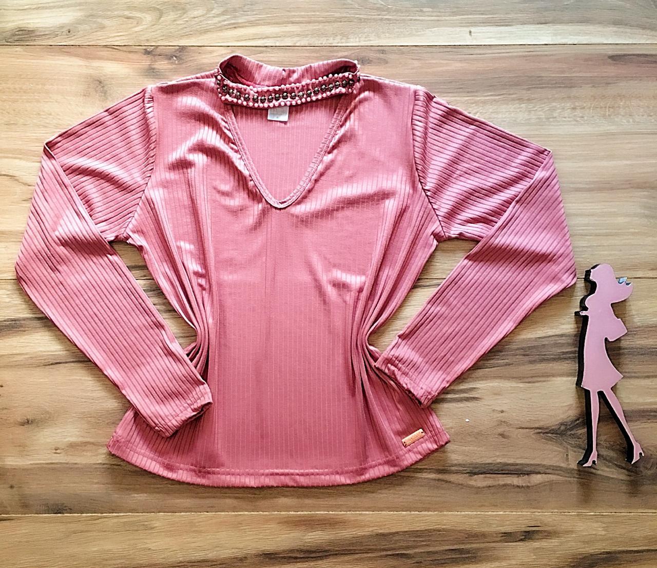 Blusa Canelada Saia Bella - SB3860 rosa