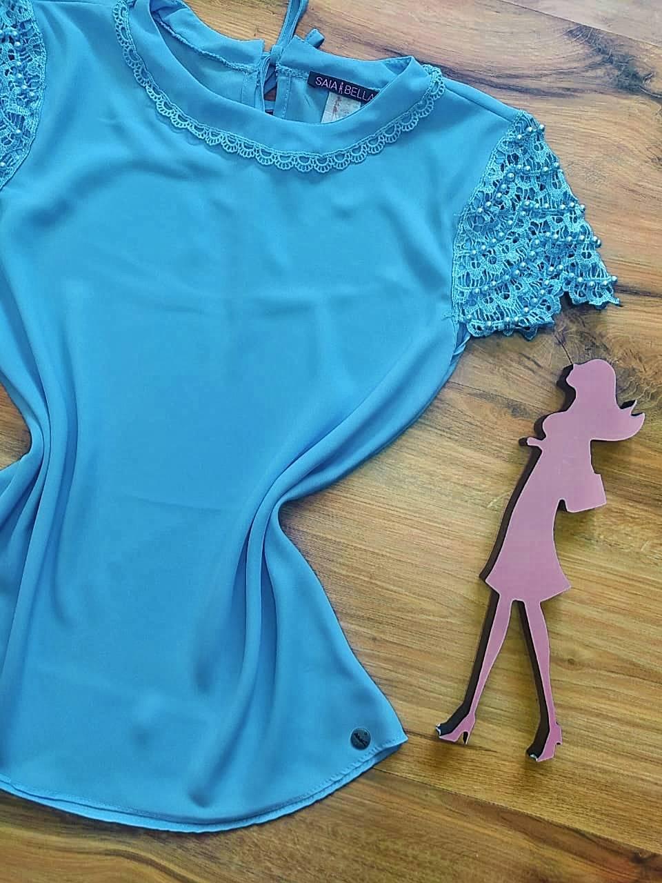 Blusa Clarisse de Renda Saia Bella - SB840701 - Azul Bebê