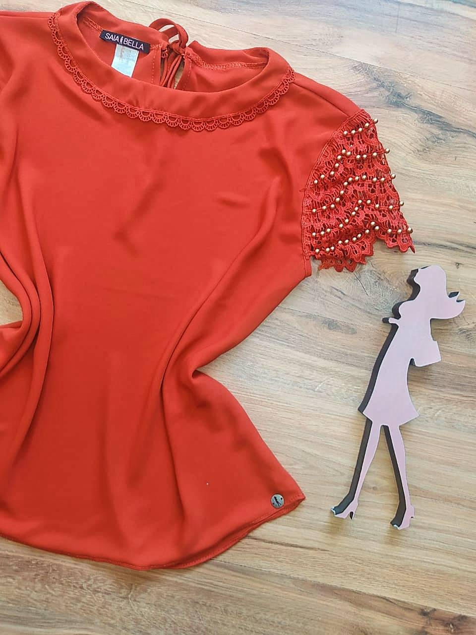 Blusa Clarisse de Renda Saia Bella - SB840701 -  Ferrugem