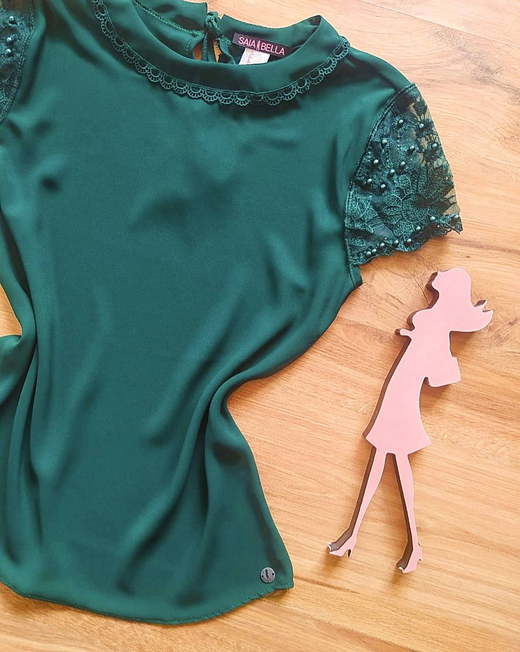 Blusa Clarisse de Renda Saia Bella - SB840701 -  Verde