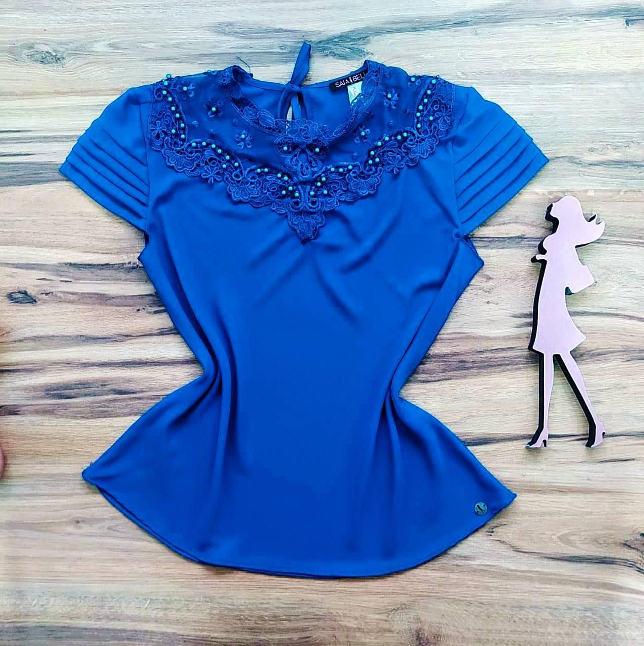 Blusa de Renda Lizandra Saia Bella  SB9983 Azul Royal