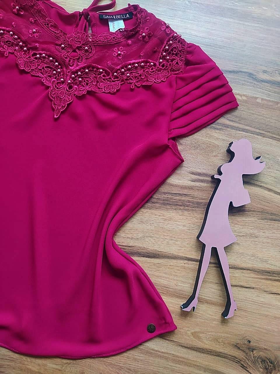 Blusa de Renda Lizandra Saia Bella  SB9983 Purpura