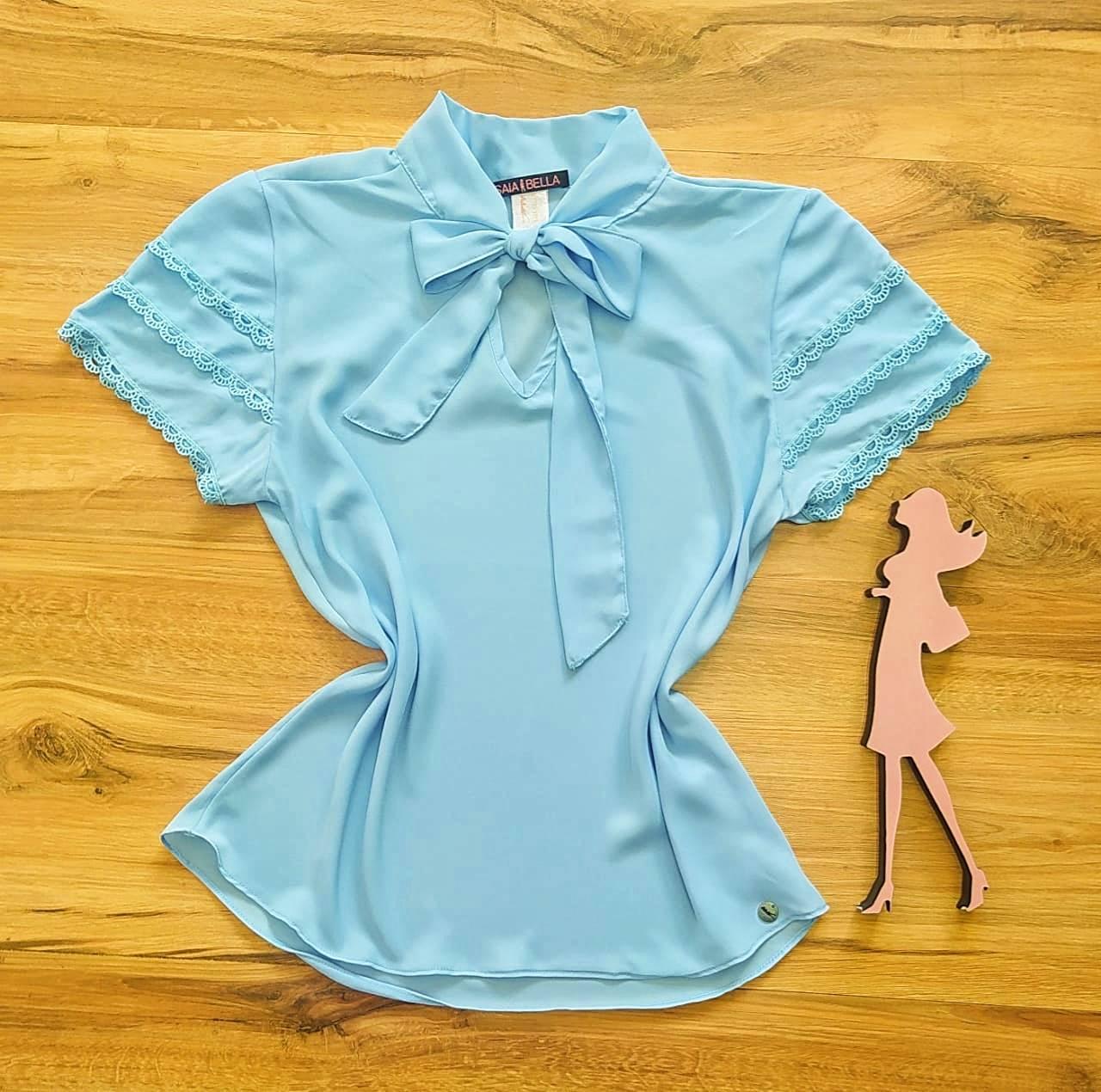 Blusa de Renda Mell Saia Bella - SB9976 azul bebê